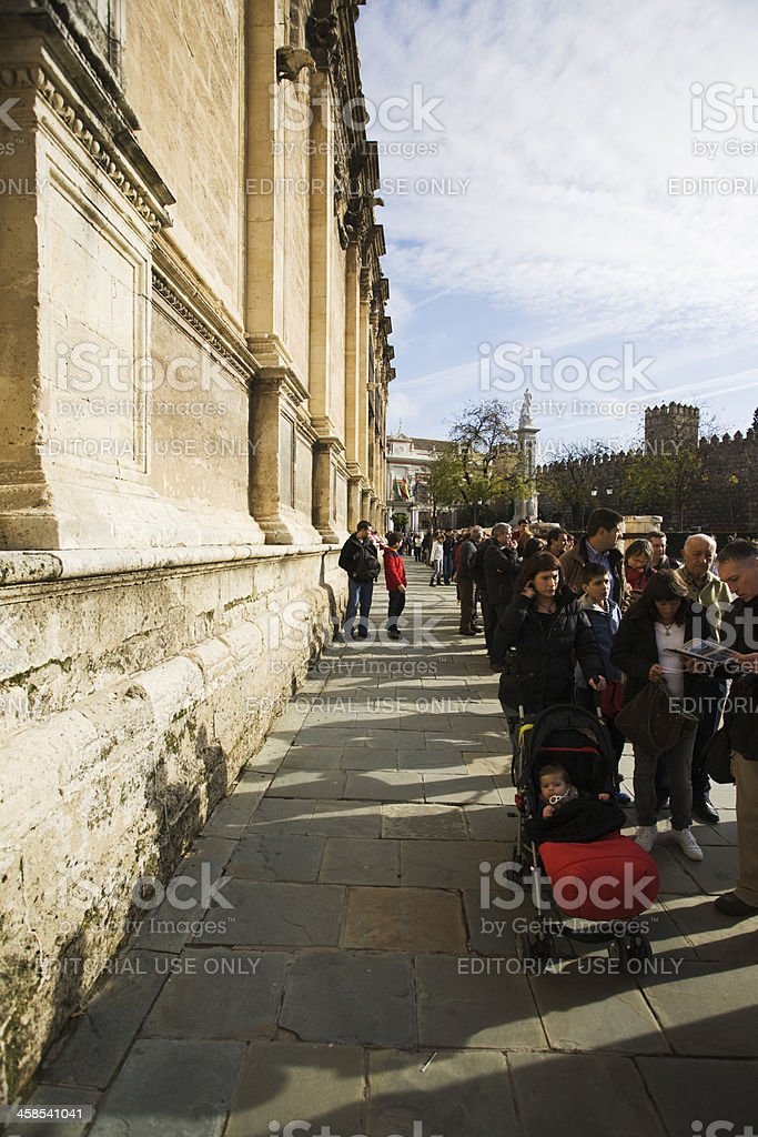 Tourist queue in La Giralda, Seville's main cathedral. royalty-free stock photo