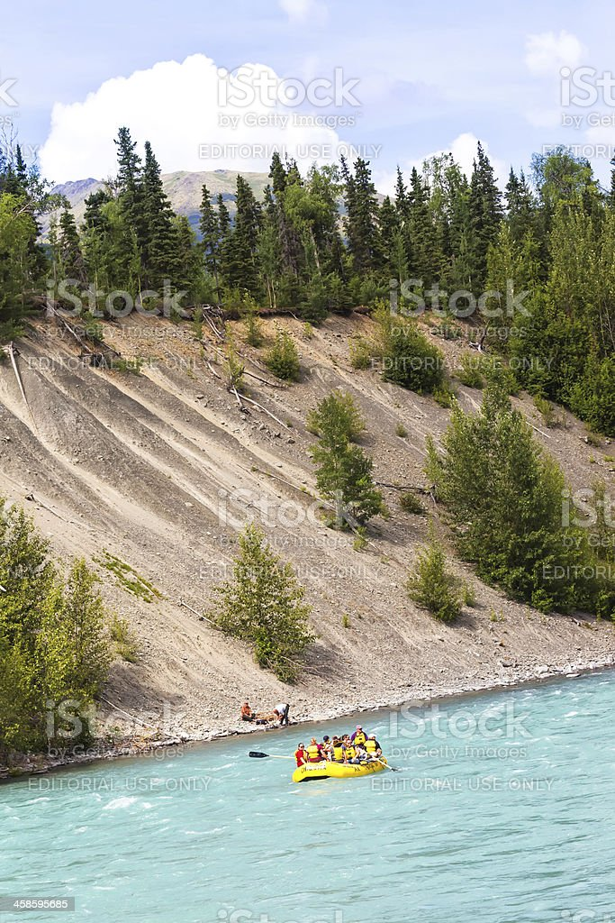 Tourist rafting in Alaska on the Kenai River  RM royalty-free stock photo