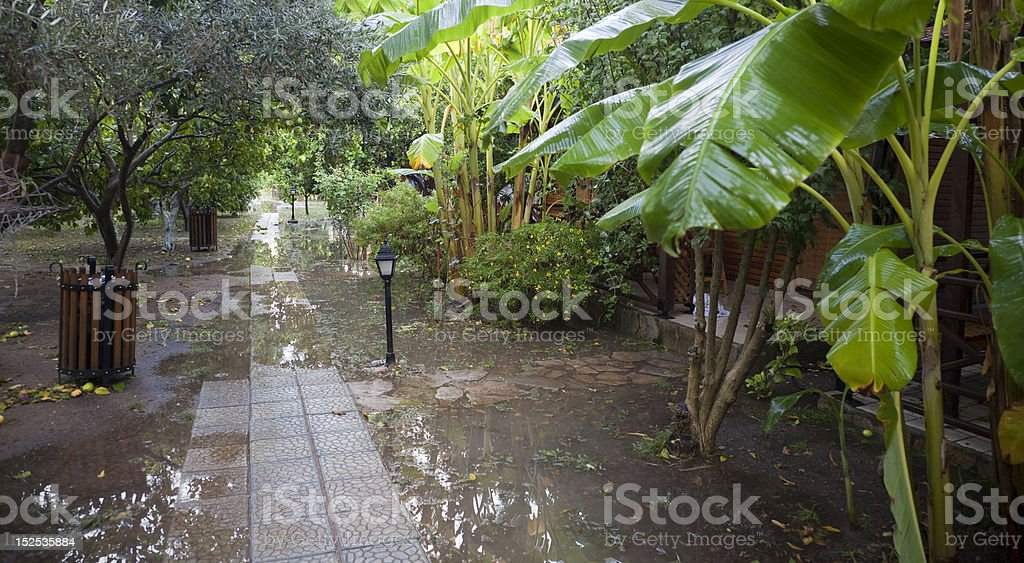 Tourist Resort after heavy Rainfall royalty-free stock photo