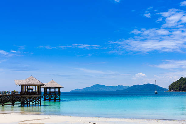 Tourist Resort and Tropical Islands Early morning on the sea and Jetty  island of borneo stock pictures, royalty-free photos & images