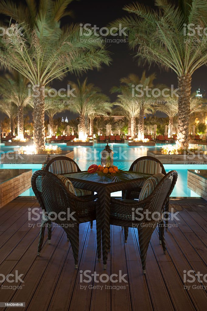 Tourist resort pool at night royalty-free stock photo