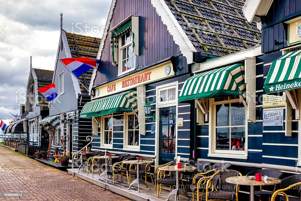 tourist restaurant on the pier in Volendam stock photo