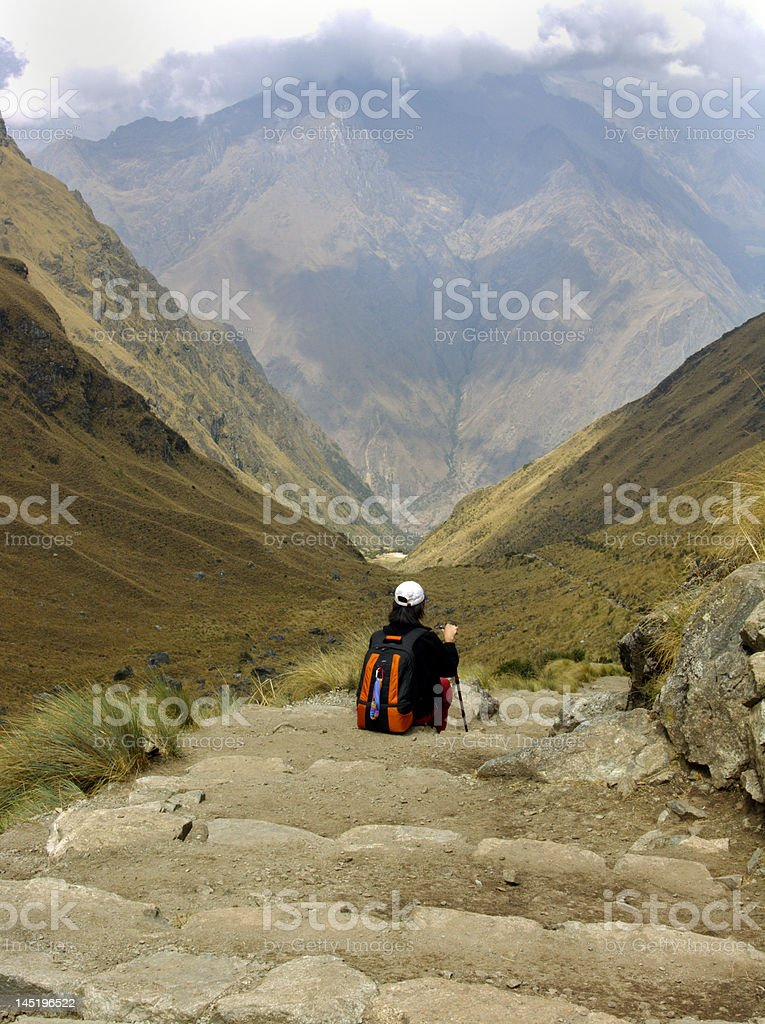 Tourist rests to admire view on the Inca trail royalty-free stock photo