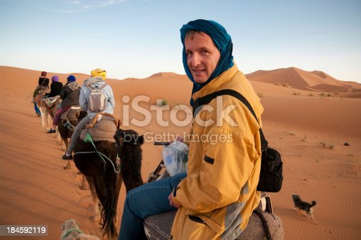 A tourist enjoys a late afternoon camel trek into the Sahara desert. Visible is baggage for overnight stay. A small dog walks alongside. Clear blue African sky