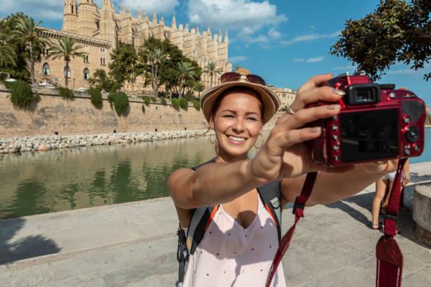 tourist selfie stock photo