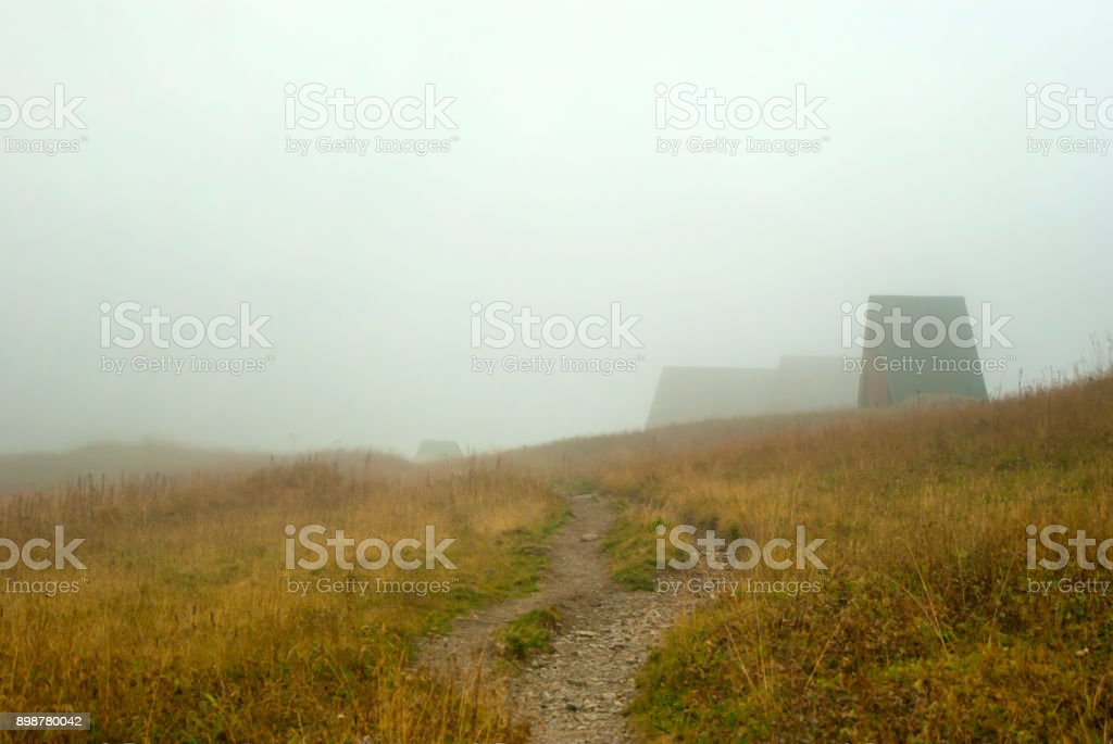 tourist shelter in the mountains stock photo