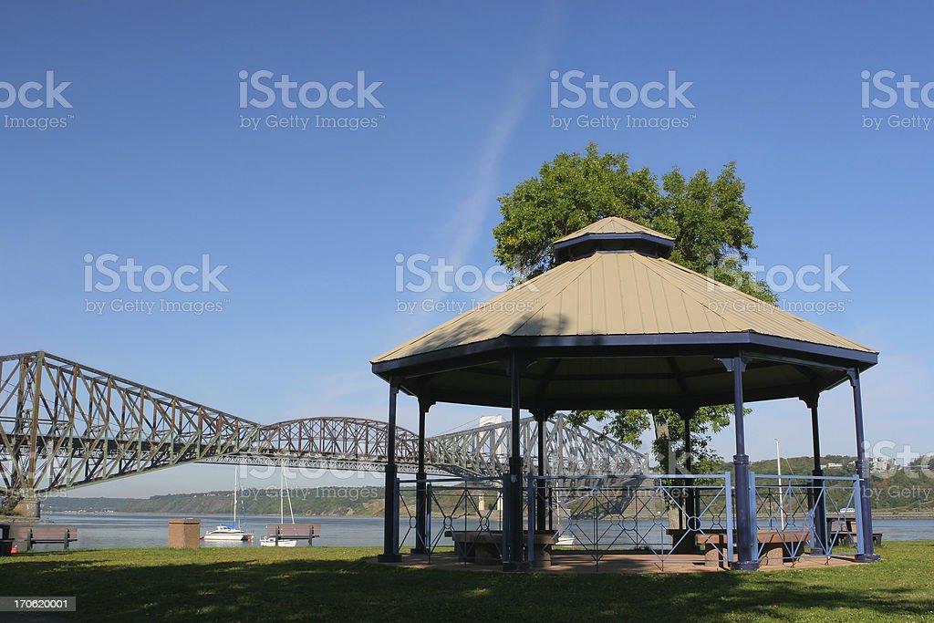 Tourist shelter near the old Quebec City bridge royalty-free stock photo