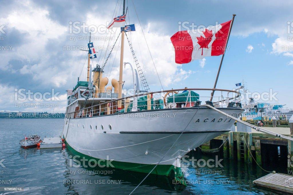 Tourist ship at Halifax Harbour stock photo