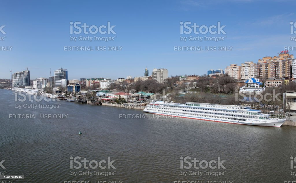 Tourist ships in the port on the Don river are preparing for summer navigation stock photo