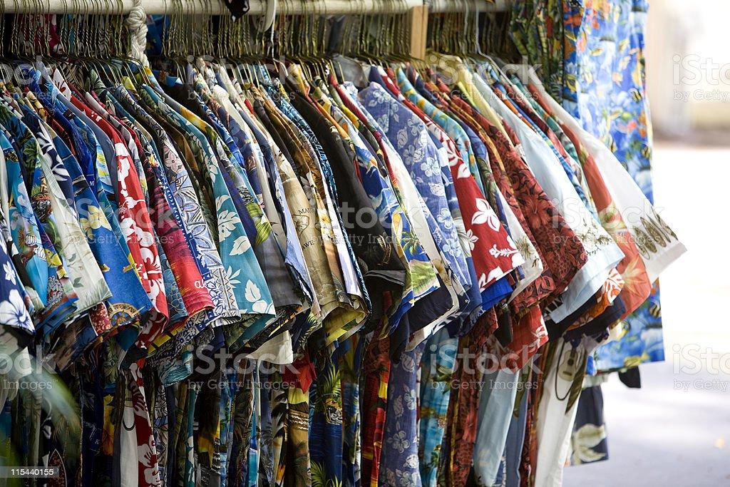 Tourist shop displaying rack of Hawaiian shirts royalty-free stock photo