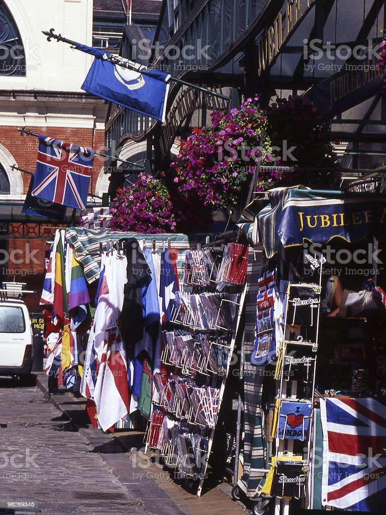 Tourist shops at Covent Garden. London. England royalty-free stock photo