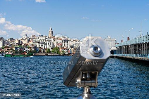 istock TURKEY, ISTANBUL - may, 2020. Tourist Sightseeing Binoculars and Panoramic view to Galata tower, galata bridge Istanbul 1248797932