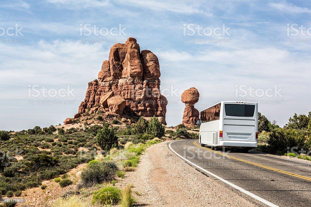 Tourist Sightseeing Tour Bus Arches National Park Moab Utah USA stock photo