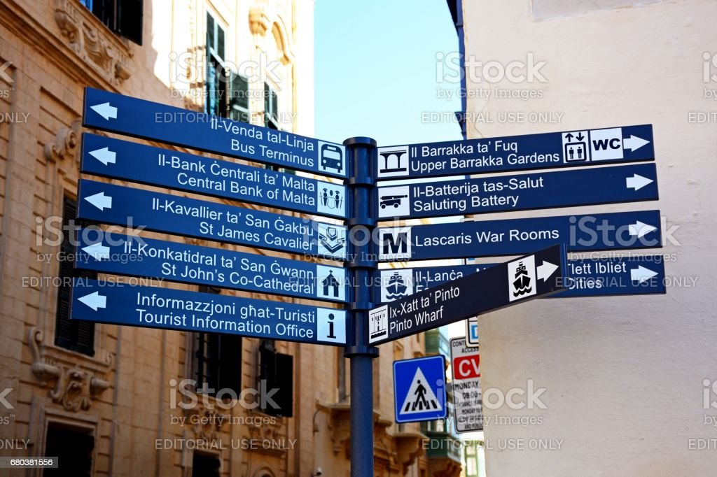 Tourist signpost, Valletta. royalty-free stock photo
