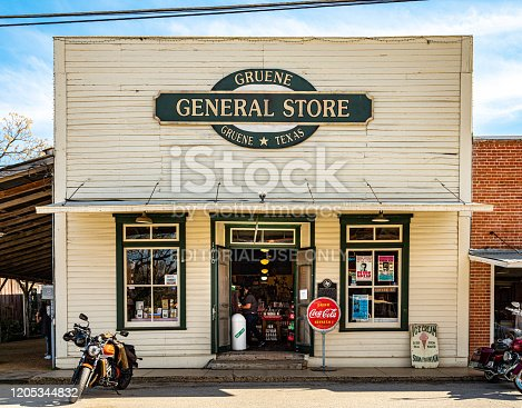Gruene, Texas, USA- February 2, 20202. Center of a small town of Gruene in suburbs of San Antonio, Texas. Originally established by German emigrants, now a vibrant community of many different nationalities and backgrounds. Front of the tourist shop near center of town.