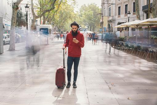 Tourist, suitcase, mobile, travel