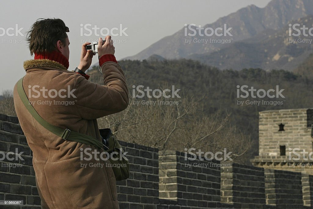 Tourist takes Picture on Great Wall royalty-free stock photo