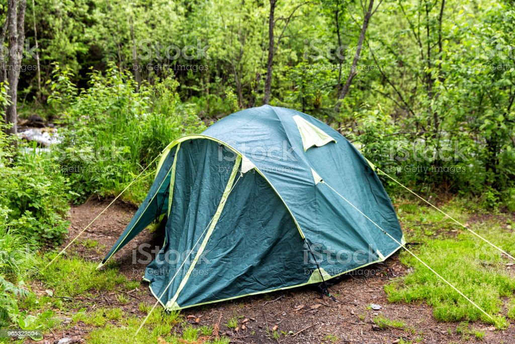 Tourist tent in the forest royalty-free stock photo