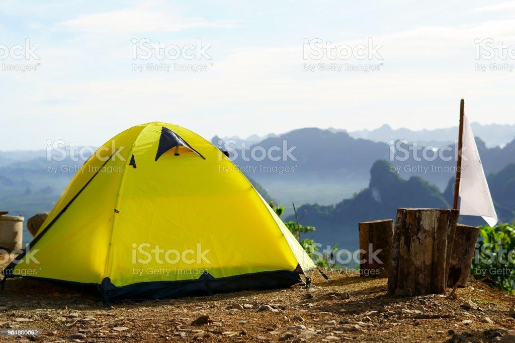Tourist tent the mountain. royalty-free stock photo