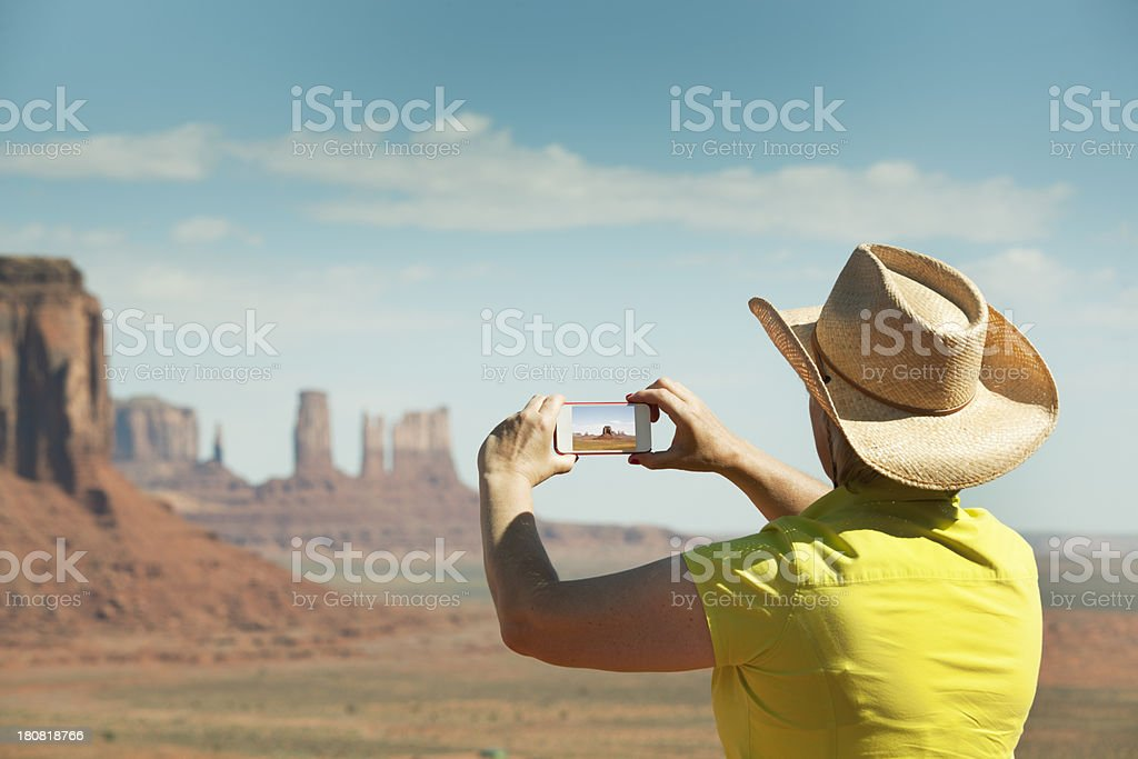 Tourist Touring and Taking Snapshot of the American Southwest royalty-free stock photo