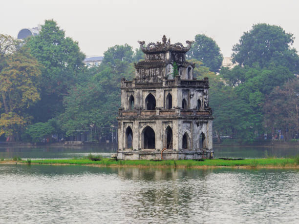 Tourist Tower, Hoan Kiem Lake, Hanoi, Vietnam stock photo