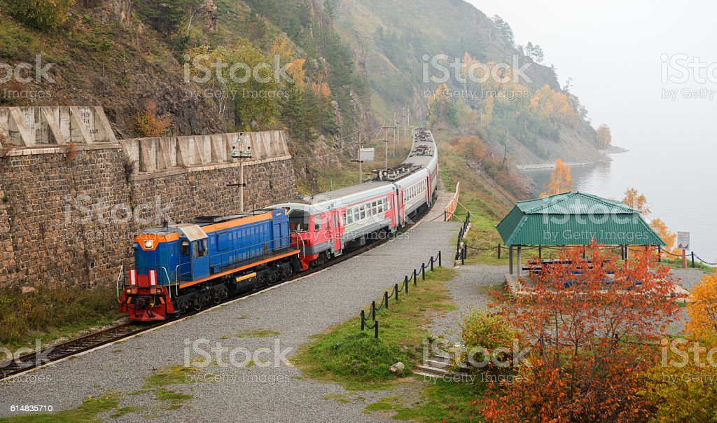 Tourist train on Circum-Baikal Railway stock photo