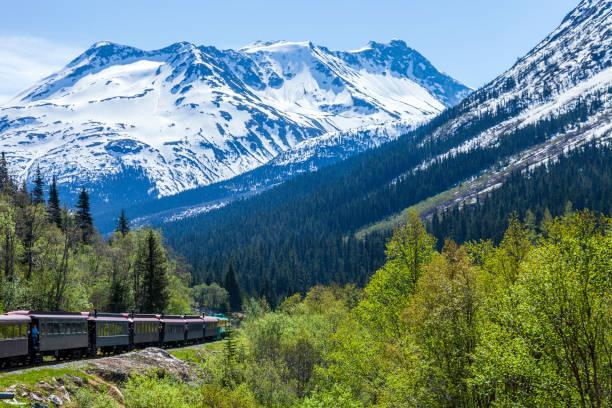 Tourist Train returning from the Canadian Border back to Skagway AK through the White Pass Mountain gorge