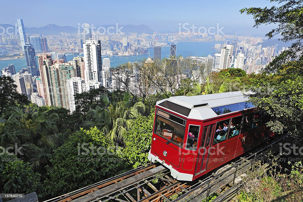 Tourist tram at the Peak stock photo