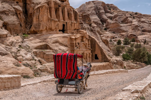 Tourist transport (carriage) near entrance to famous Petra site. Petra, Jordan. Tourist transport (carriage) near entrance to famous Petra site. Petra, Jordan. riverbed stock pictures, royalty-free photos & images