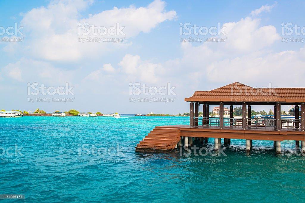 Tourist transportation motorboats in Male, Maldives stock photo