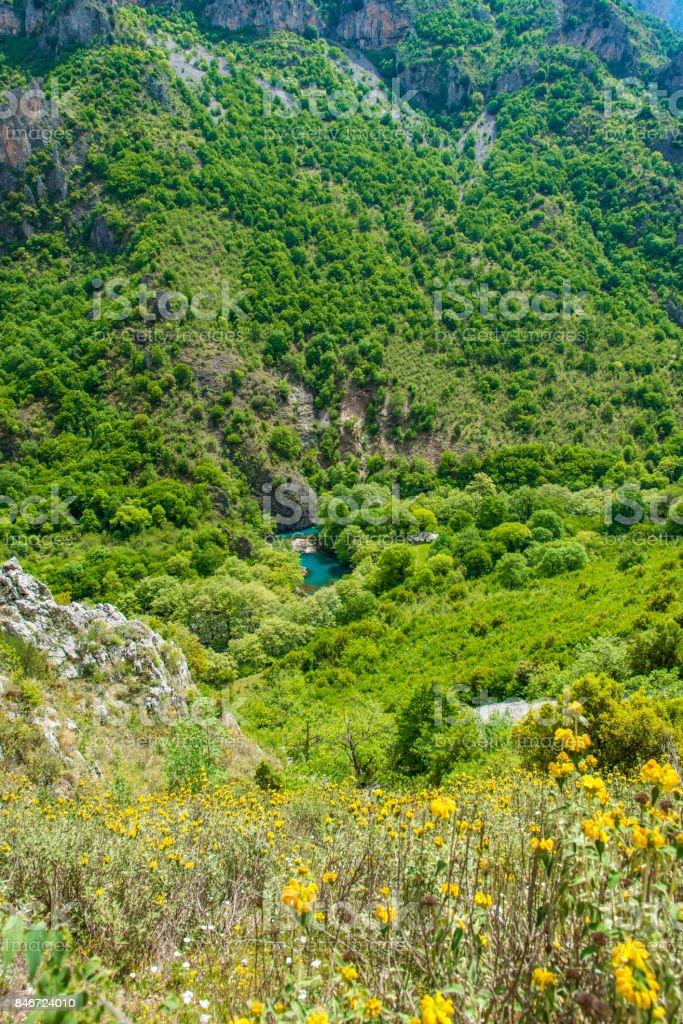 Vikos Gorge, Greece- May 10, 2017 :Tourist travel in Vikos Gorge, Greece stock photo