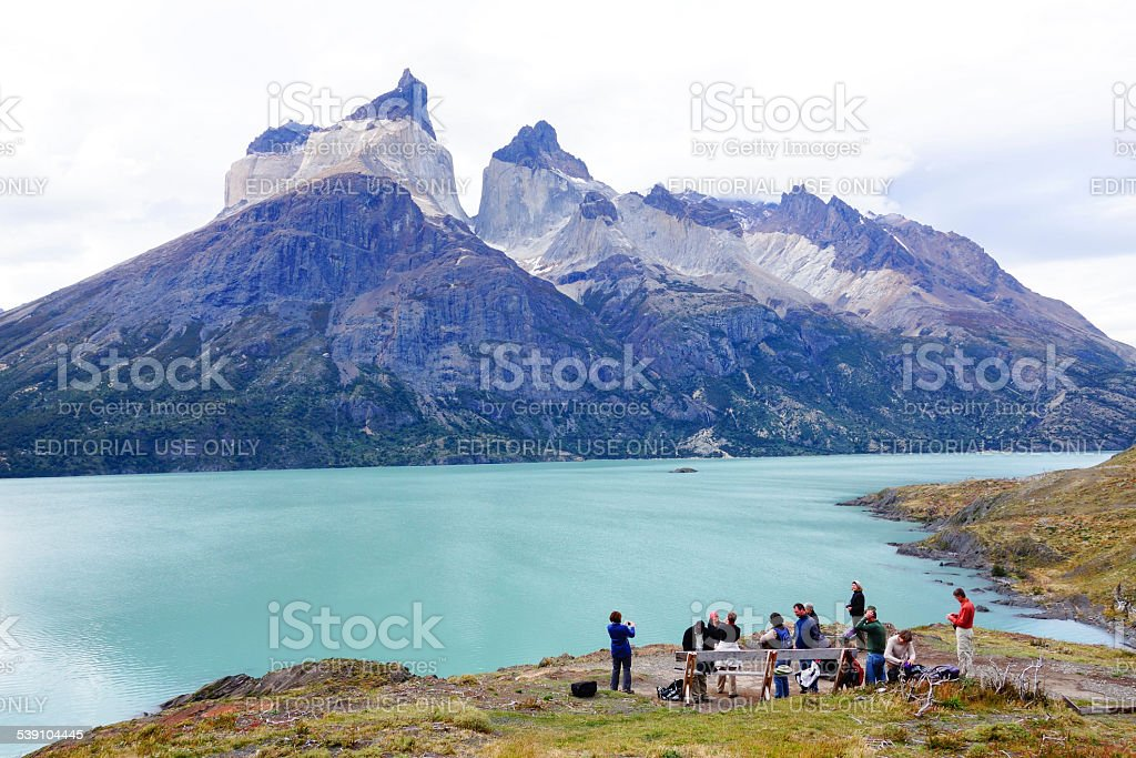 Tourist trekking in Torres Del Paine National Park, Chile stock photo