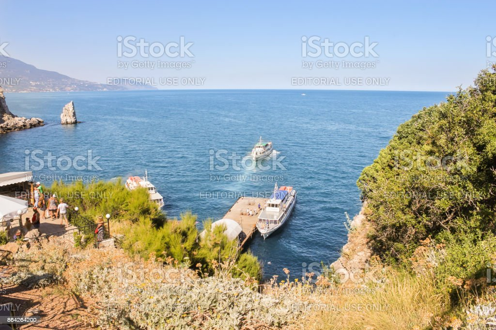 Tourist vessels at the pier. royalty-free stock photo