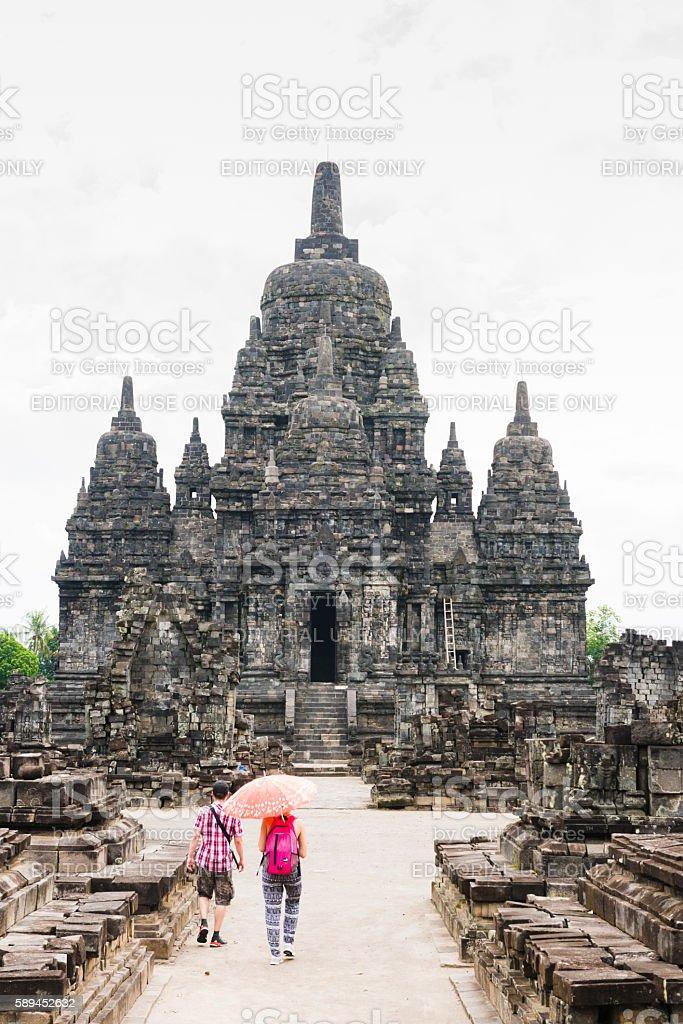 Tourist Visit Ancient Candi Sewu Prambanan Temple in Java Indonesia stock photo