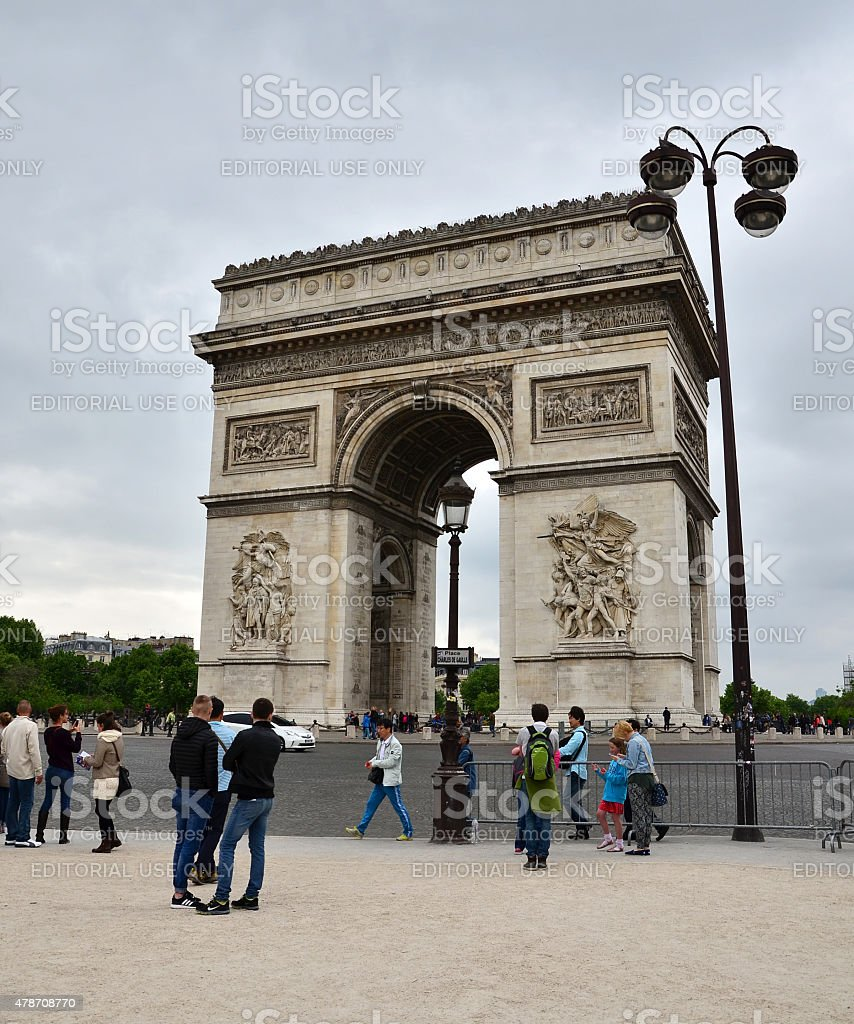 Tourist visit Arc de Triomphe in Paris stock photo
