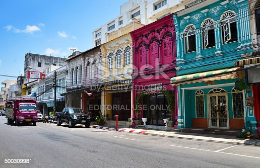 istock Tourist visit old building Chino Portuguese style in Phuket 500309981