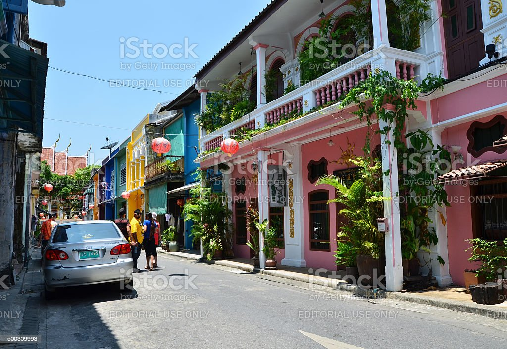 Tourist visit old building Chino Portuguese style in Phuket stock photo