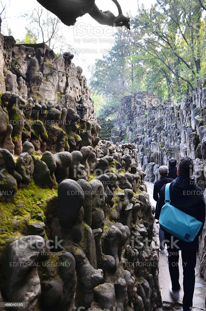 Tourist visit Rock statues at the rock garden in Chandigarh stock photo