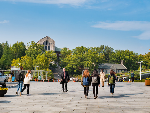 Tourist Visiting Ehwa Womans University This Is The First Women University In South Korea Stock Photo - Download Image Now
