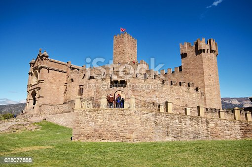 Navarra, Spain - April 2, 2015: Tourist visiting famous Javier Castle on April 2, 2015, in Navarra, Spain.