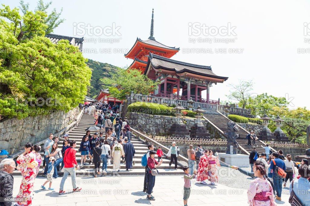 Tourist visiting Kiyomizu-dera Temple, famous Buddhist temple in Kyoto, Japan stock photo