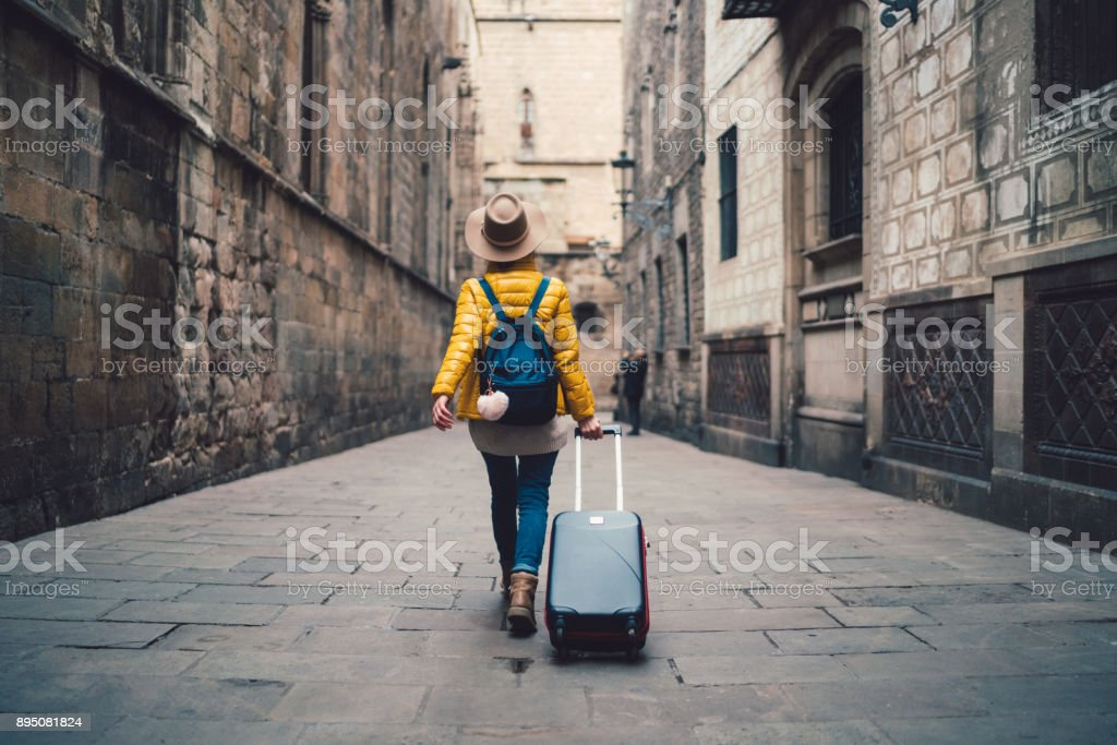 Tourist visiting Spain stock photo