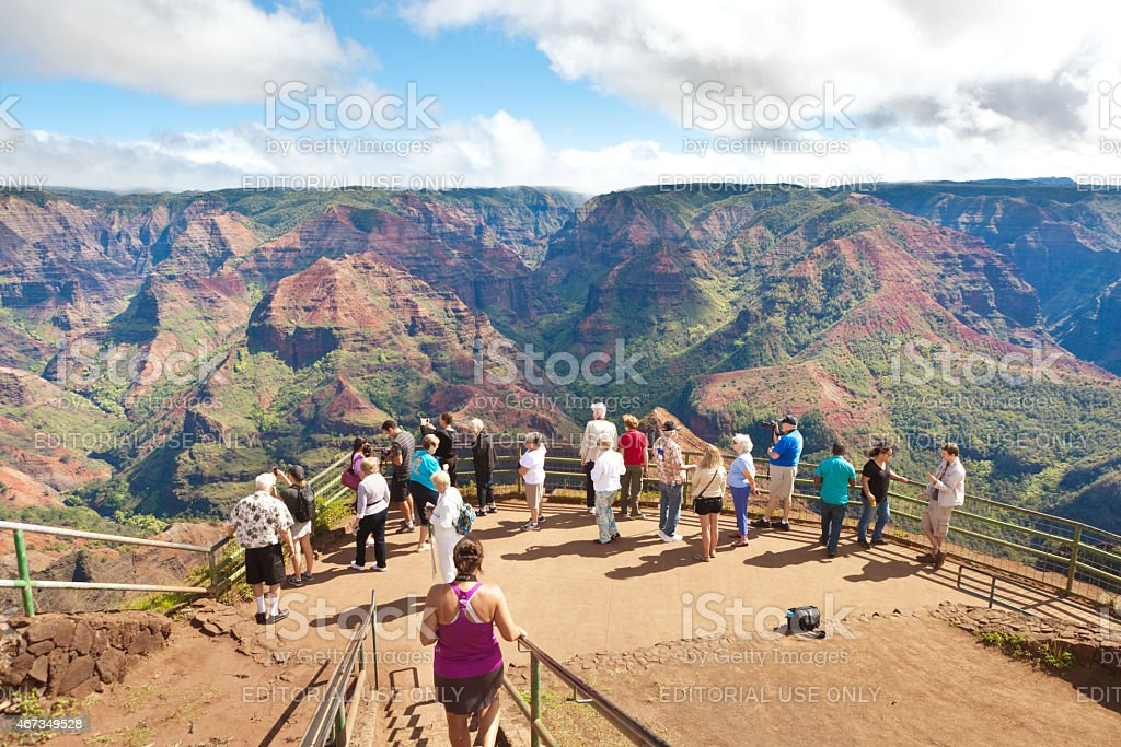 Tourist Visiting Waimea Canyon of Kauai Hawaii stock photo