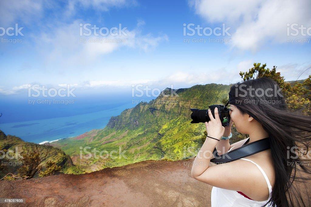 Tourist Visitor to the Waimea Canyon of Kauai Hawaii stock photo