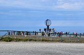 08/19/2017 Finnmark, Norway: tourist visitors at North Cape in Finnmark county, Norway