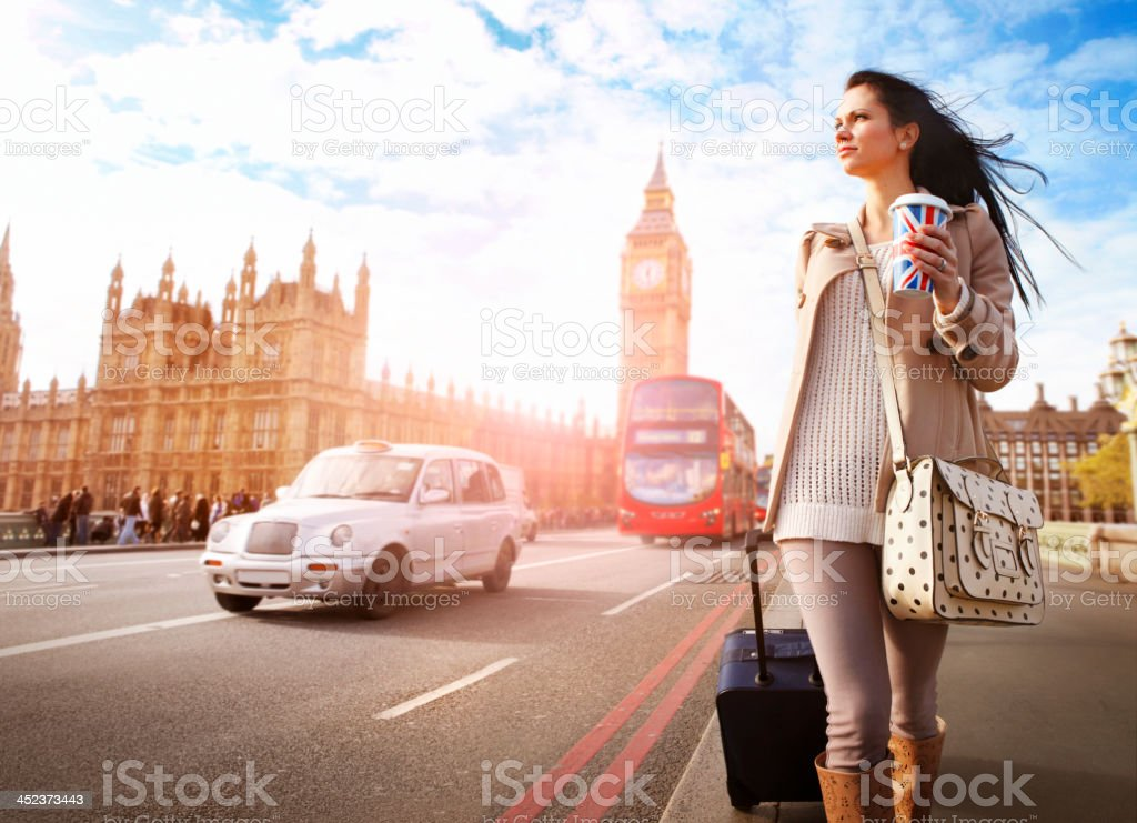 Tourist walking at Big Ben in London stock photo