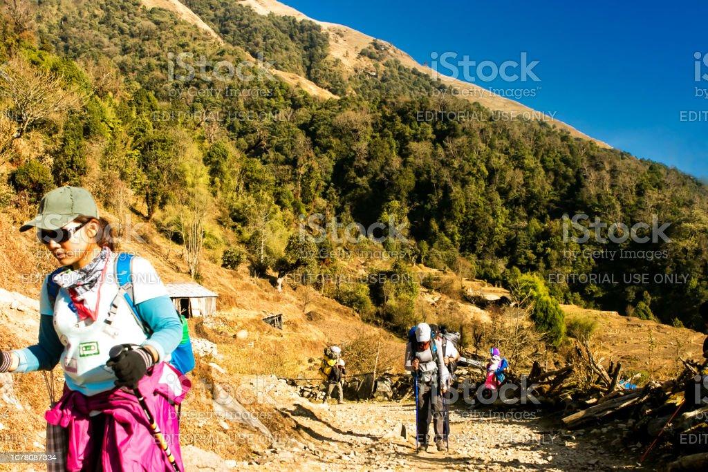 tourist walking in annapurna nepal stock photo