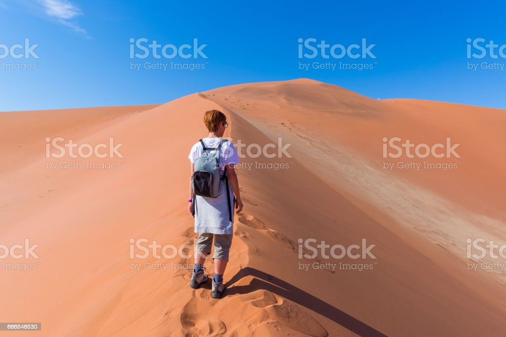 Tourist walking on the scenic dunes of Sossusvlei foto stock royalty-free