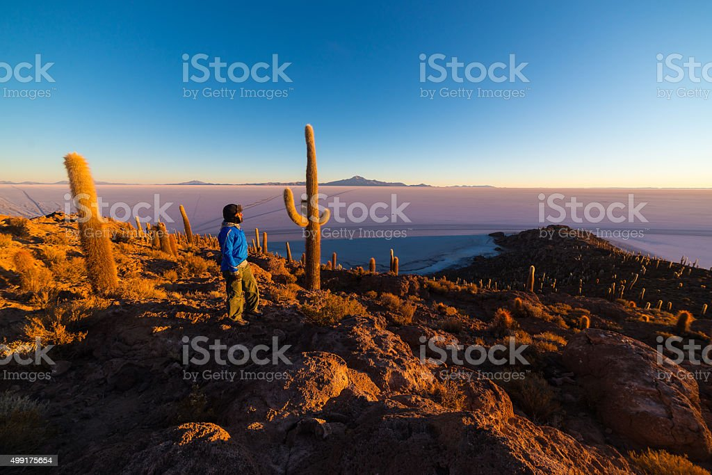 Tourist watching sunrise over Uyuni Salt Flat, Bolivia stock photo