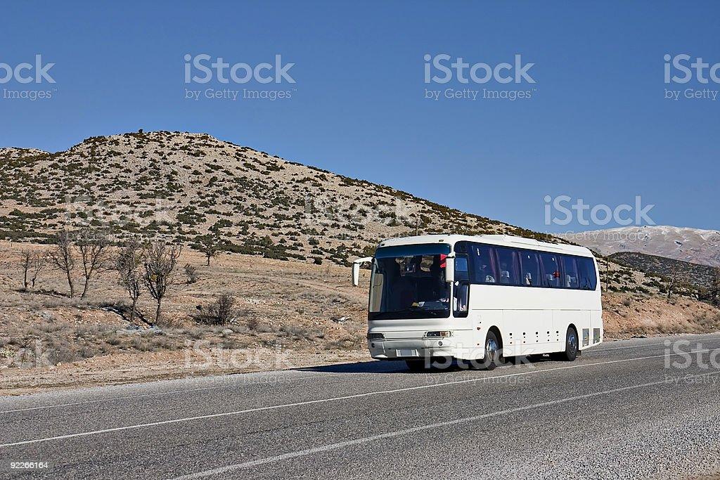 Tourist white Bus on Road royalty-free stock photo